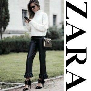 NWT Zara Faux Leather Ruffle Hem Pants
